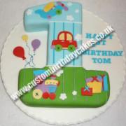 Plane Car Train Number 1 Cake