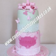 Lace Flowers and Butterfly Cake